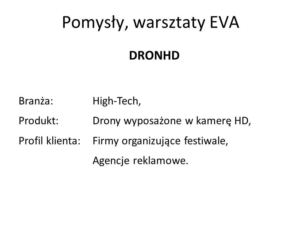 Pomysły, warsztaty EVA DRONHD Branża:High-Tech, Produkt:Drony wyposażone w kamerę HD, Profil klienta:Firmy organizujące festiwale, Agencje reklamowe.