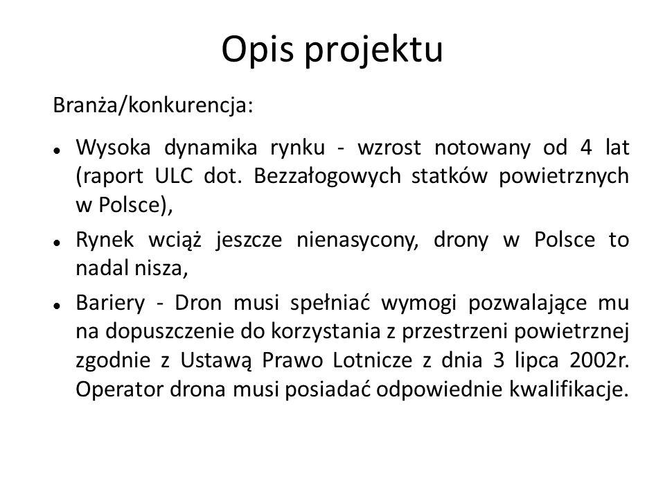Opis projektu Branża/konkurencja: Wysoka dynamika rynku - wzrost notowany od 4 lat (raport ULC dot. Bezzałogowych statków powietrznych w Polsce), Ryne