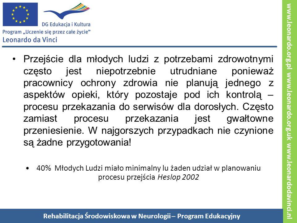 www.leonardo.org.pl www.leonardo.org.uk www.leonardodavinci.nl Przejście dla młodych ludzi z potrzebami zdrowotnymi często jest niepotrzebnie utrudniane ponieważ pracownicy ochrony zdrowia nie planują jednego z aspektów opieki, który pozostaje pod ich kontrolą – procesu przekazania do serwisów dla dorosłych.