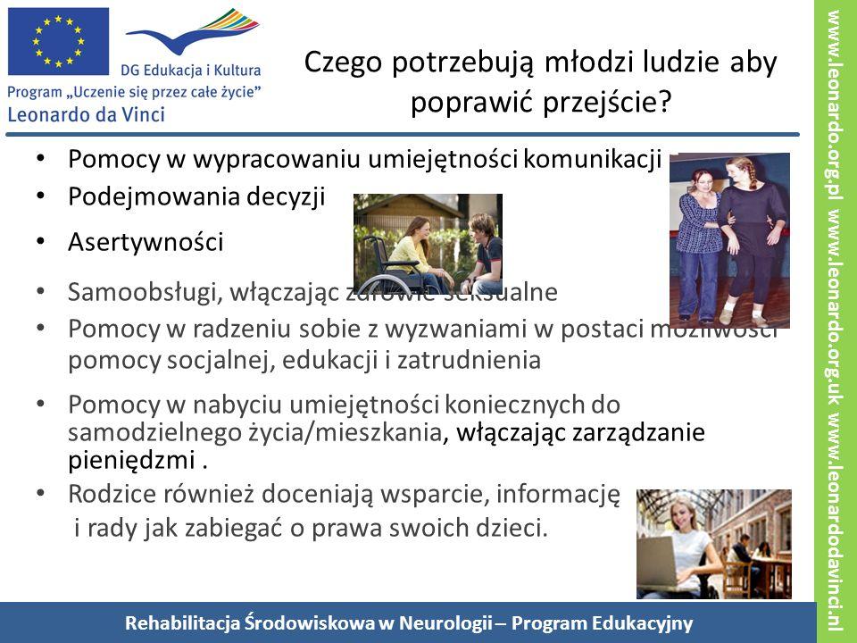 www.leonardo.org.pl www.leonardo.org.uk www.leonardodavinci.nl Czego potrzebują młodzi ludzie aby poprawić przejście.