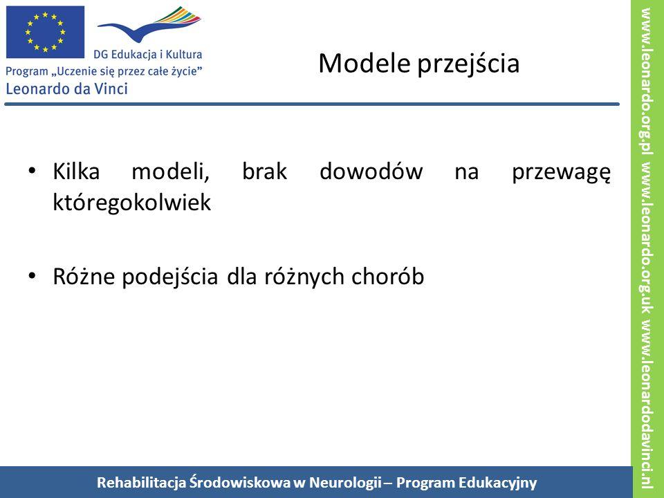 www.leonardo.org.pl www.leonardo.org.uk www.leonardodavinci.nl Modele przejścia Kilka modeli, brak dowodów na przewagę któregokolwiek Różne podejścia dla różnych chorób Rehabilitacja Środowiskowa w Neurologii – Program Edukacyjny
