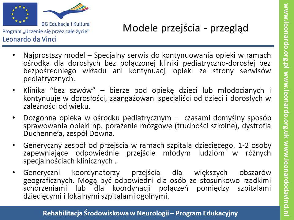 www.leonardo.org.pl www.leonardo.org.uk www.leonardodavinci.nl Modele przejścia - przegląd Najprostszy model – Specjalny serwis do kontynuowania opieki w ramach ośrodka dla dorosłych bez połączonej kliniki pediatryczno-dorosłej bez bezpośredniego wkładu ani kontynuacji opieki ze strony serwisów pediatrycznych.