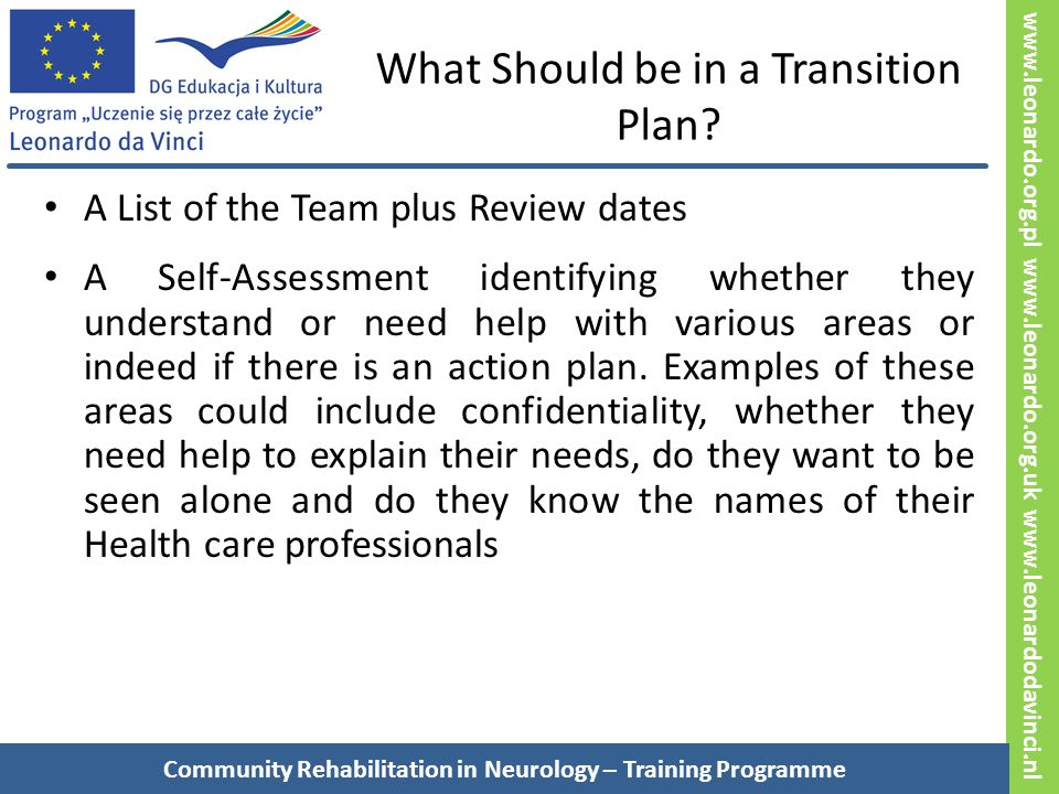 www.leonardo.org.pl www.leonardo.org.uk www.leonardodavinci.nl What Should be in a Transition Plan.