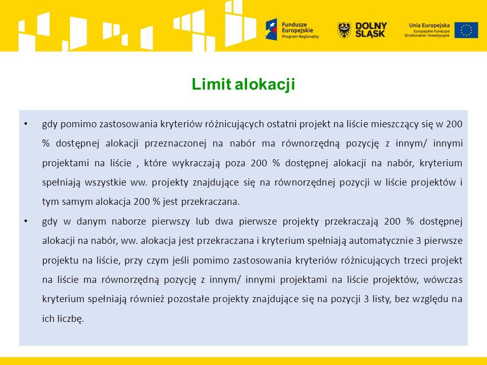 Limit alokacji gdy pomimo zastosowania kryteriów różnicujących ostatni projekt na liście mieszczący się w 200 % dostępnej alokacji przeznaczonej na na
