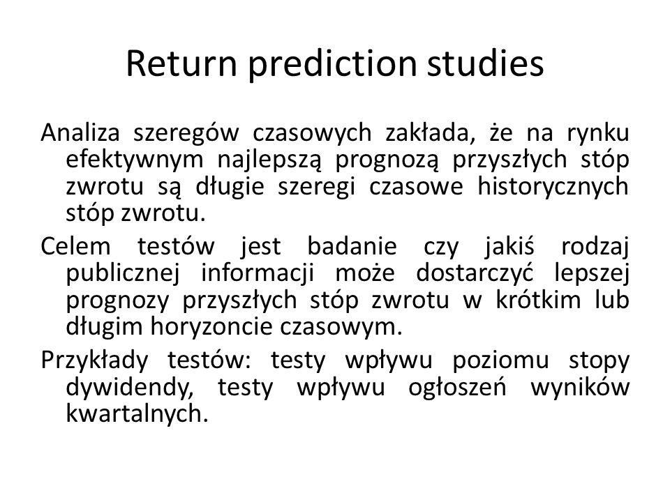 Return prediction studies Analiza szeregów czasowych zakłada, że na rynku efektywnym najlepszą prognozą przyszłych stóp zwrotu są długie szeregi czasowe historycznych stóp zwrotu.