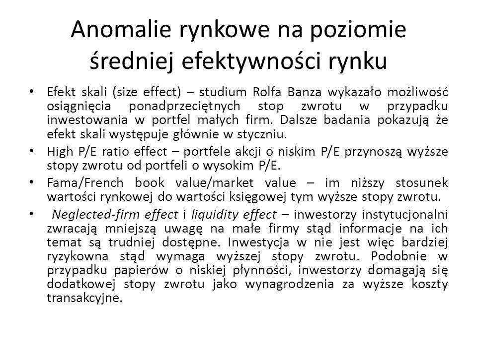 Anomalie rynkowe na poziomie średniej efektywności rynku Efekt skali (size effect) – studium Rolfa Banza wykazało możliwość osiągnięcia ponadprzeciętnych stop zwrotu w przypadku inwestowania w portfel małych firm.