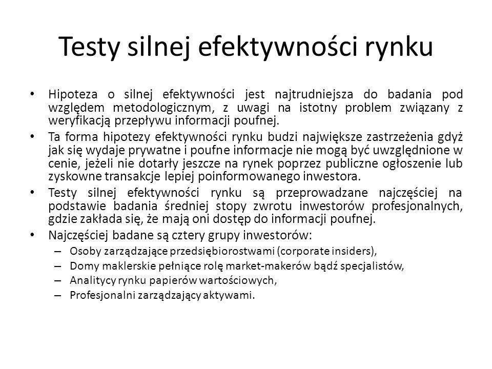 Testy silnej efektywności rynku Hipoteza o silnej efektywności jest najtrudniejsza do badania pod względem metodologicznym, z uwagi na istotny problem związany z weryfikacją przepływu informacji poufnej.