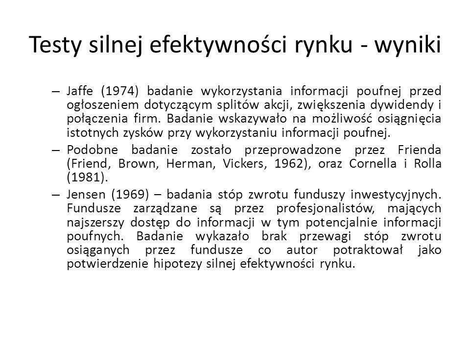 Testy silnej efektywności rynku - wyniki – Jaffe (1974) badanie wykorzystania informacji poufnej przed ogłoszeniem dotyczącym splitów akcji, zwiększenia dywidendy i połączenia firm.