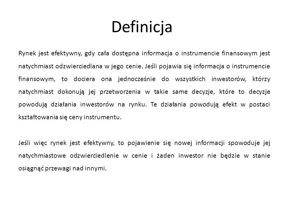 Jak wynika z definicji efektywność rynku kapitałowego jest rozumiana jako efektywność informacyjna.