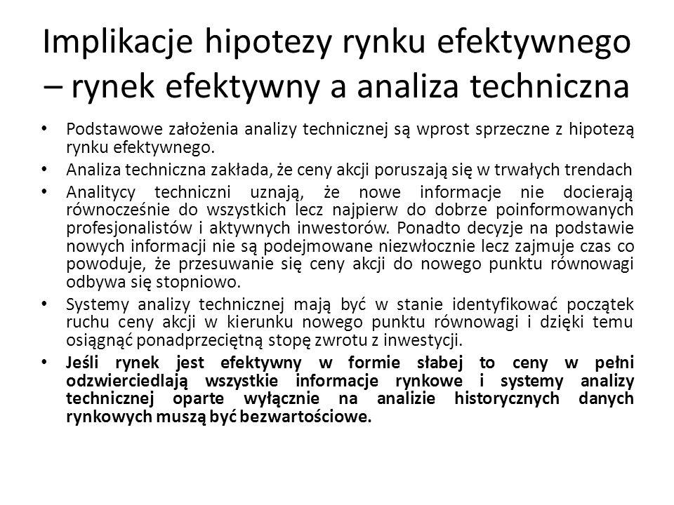 Implikacje hipotezy rynku efektywnego – rynek efektywny a analiza techniczna Podstawowe założenia analizy technicznej są wprost sprzeczne z hipotezą rynku efektywnego.