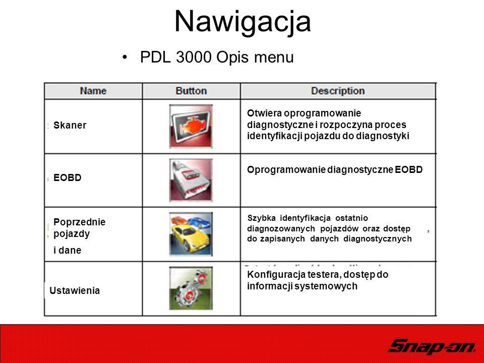Nawigacja PDL 3000 Opis menu Otwiera oprogramowanie diagnostyczne i rozpoczyna proces identyfikacji pojazdu do diagnostyki Oprogramowanie diagnostyczn