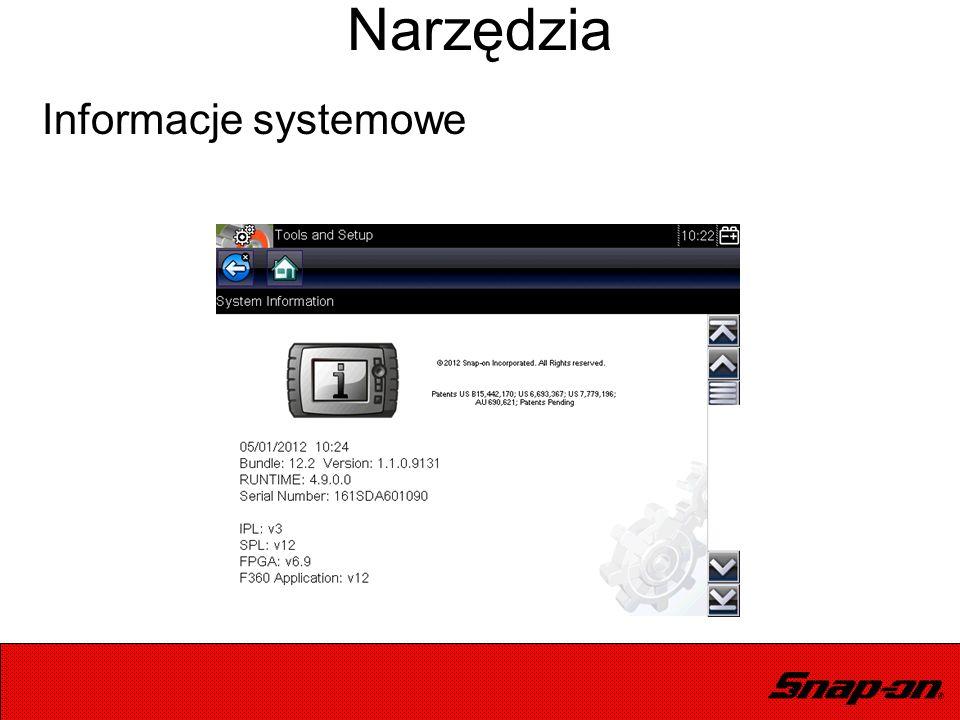 Informacje systemowe Narzędzia