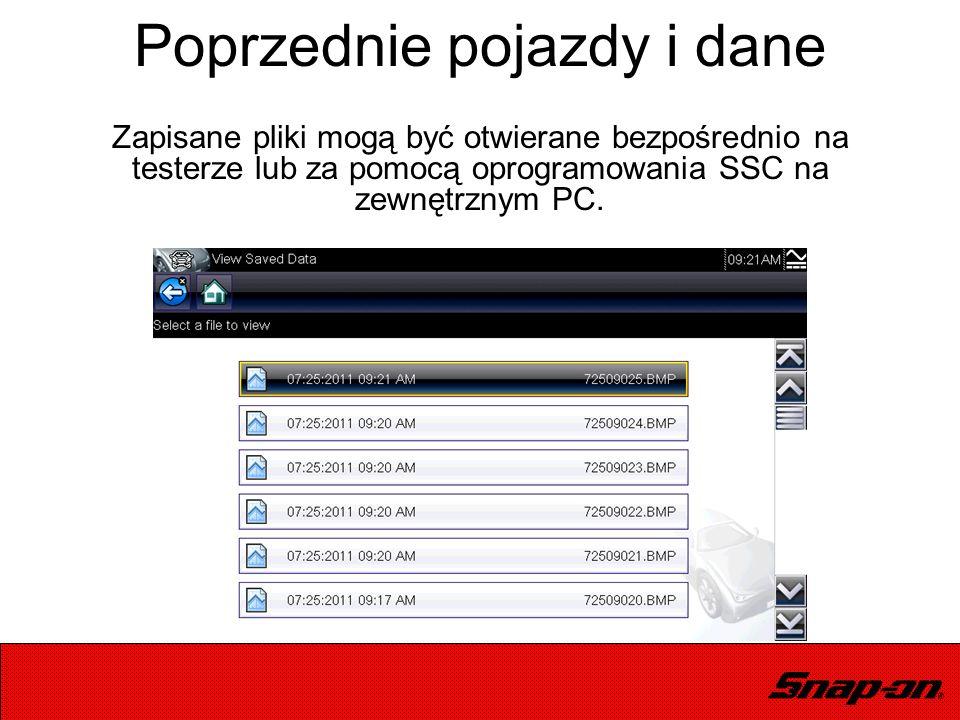 Zapisane pliki mogą być otwierane bezpośrednio na testerze lub za pomocą oprogramowania SSC na zewnętrznym PC. Poprzednie pojazdy i dane