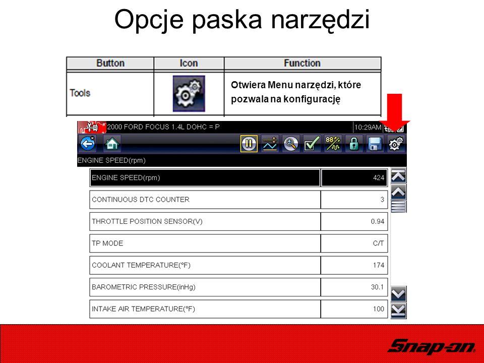 Opcje paska narzędzi Otwiera Menu narzędzi, które pozwala na konfigurację