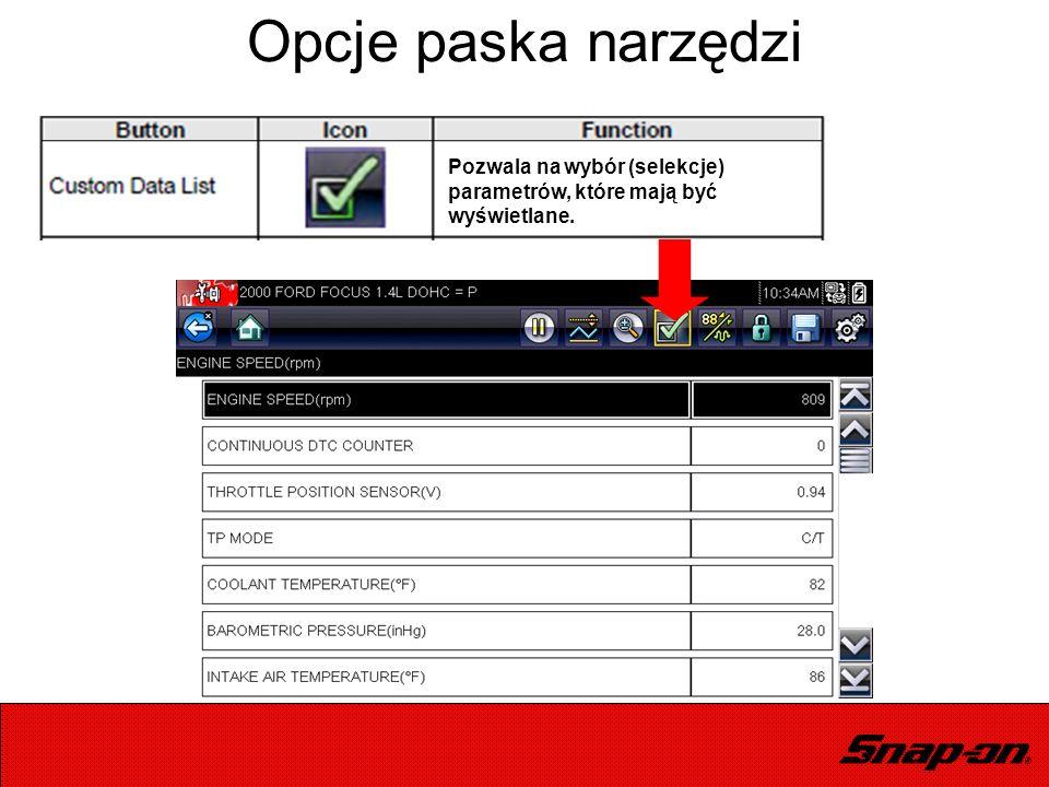 Opcje paska narzędzi Pozwala na wybór (selekcje) parametrów, które mają być wyświetlane.