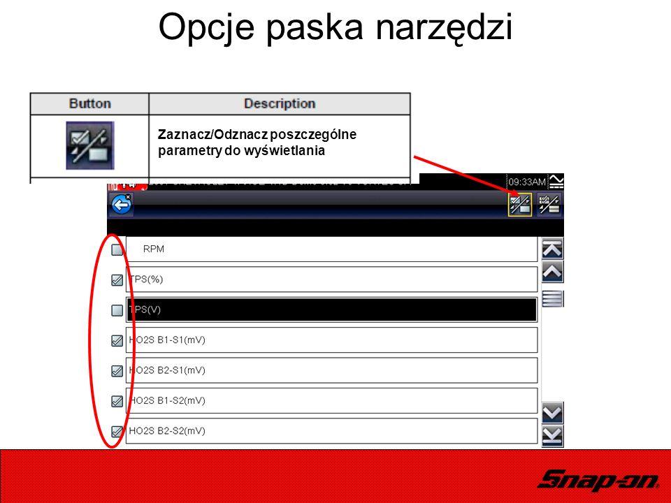 Opcje paska narzędzi Zaznacz/Odznacz poszczególne parametry do wyświetlania