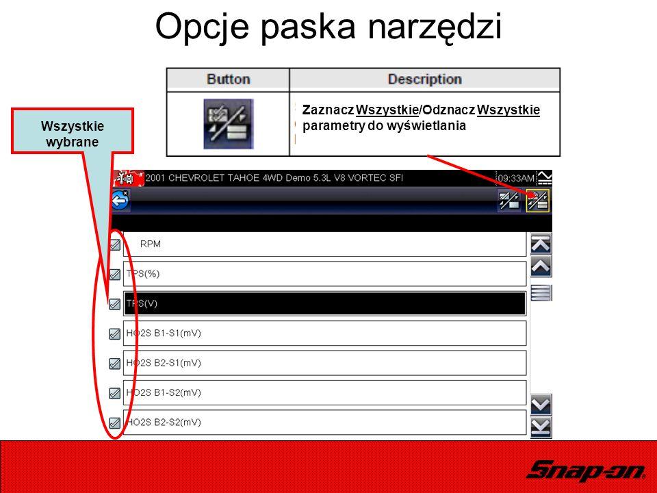 Wszystkie wybrane Opcje paska narzędzi Zaznacz Wszystkie/Odznacz Wszystkie parametry do wyświetlania