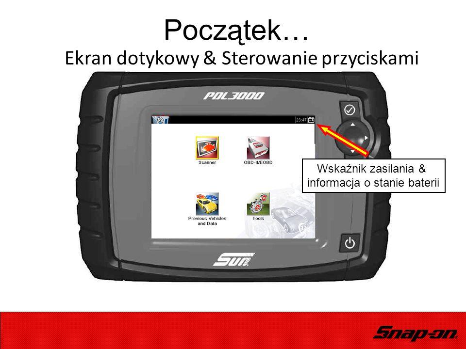 Początek… Wskaźnik zasilania & informacja o stanie baterii Ekran dotykowy & Sterowanie przyciskami