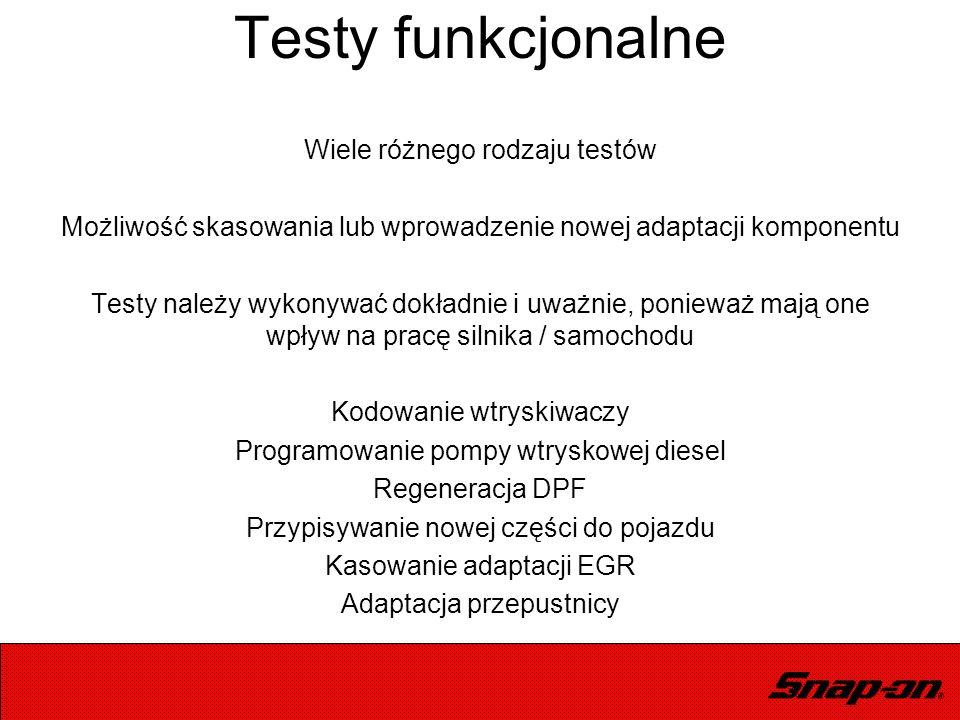 Testy funkcjonalne Wiele różnego rodzaju testów Możliwość skasowania lub wprowadzenie nowej adaptacji komponentu Testy należy wykonywać dokładnie i uw
