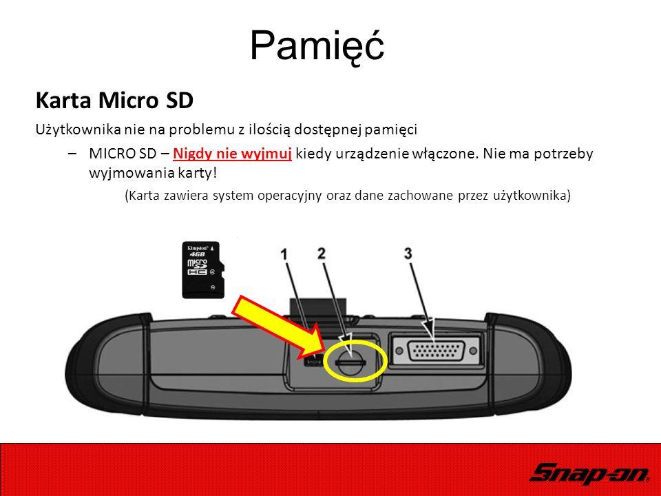 Karta Micro SD Użytkownika nie na problemu z ilością dostępnej pamięci –MICRO SD – Nigdy nie wyjmuj kiedy urządzenie włączone. Nie ma potrzeby wyjmowa