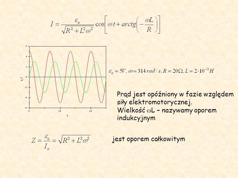 Prąd jest opóźniony w fazie względem siły elektromotorycznej. Wielkość  L – nazywamy oporem indukcyjnym jest oporem całkowitym