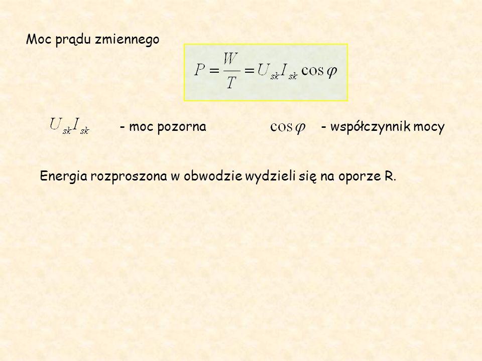 Moc prądu zmiennego - moc pozorna- współczynnik mocy Energia rozproszona w obwodzie wydzieli się na oporze R.