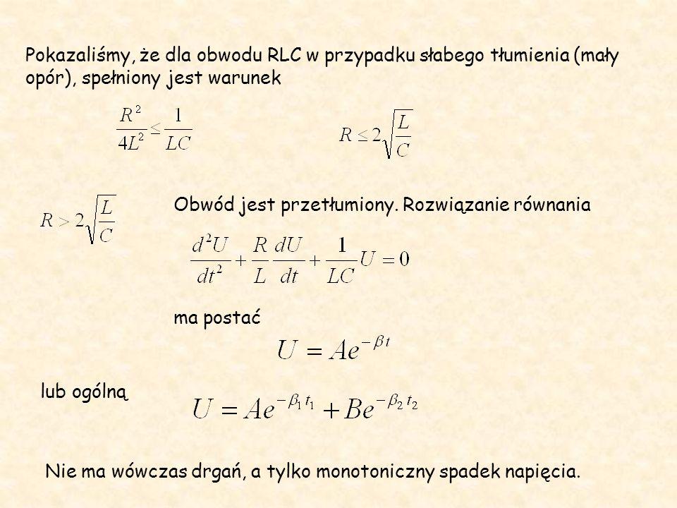 Pokazaliśmy, że dla obwodu RLC w przypadku słabego tłumienia (mały opór), spełniony jest warunek Obwód jest przetłumiony. Rozwiązanie równania ma post