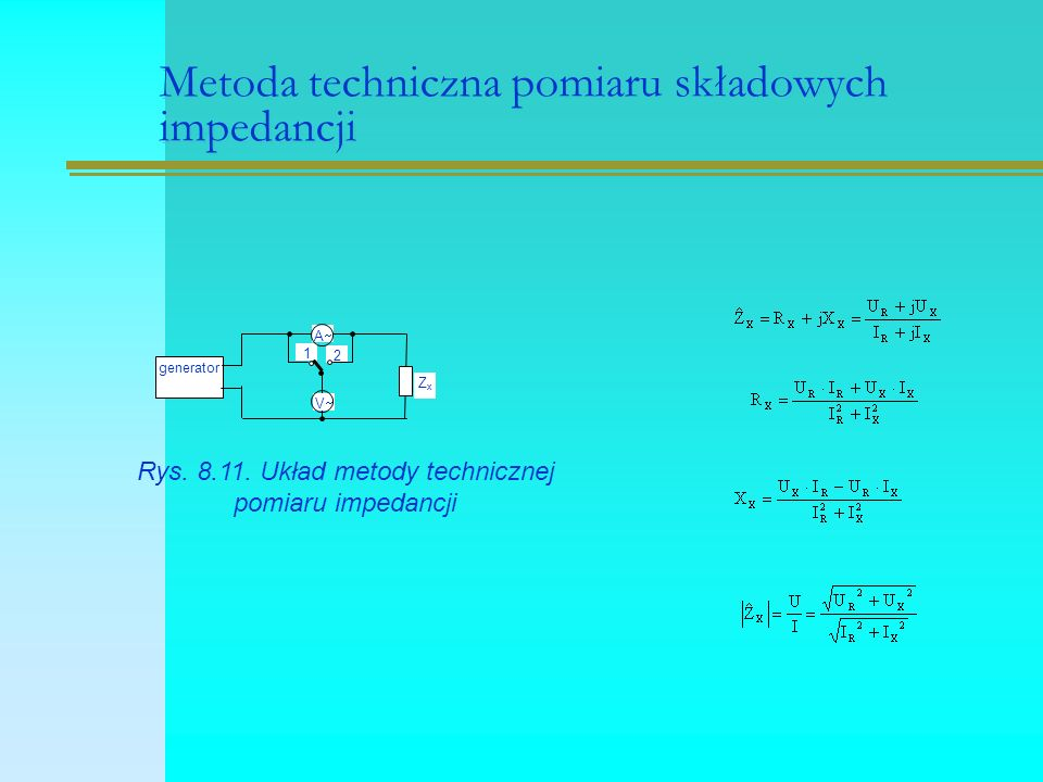 Metoda techniczna pomiaru składowych impedancji 2 1 VV generator AA ZxZx Rys.