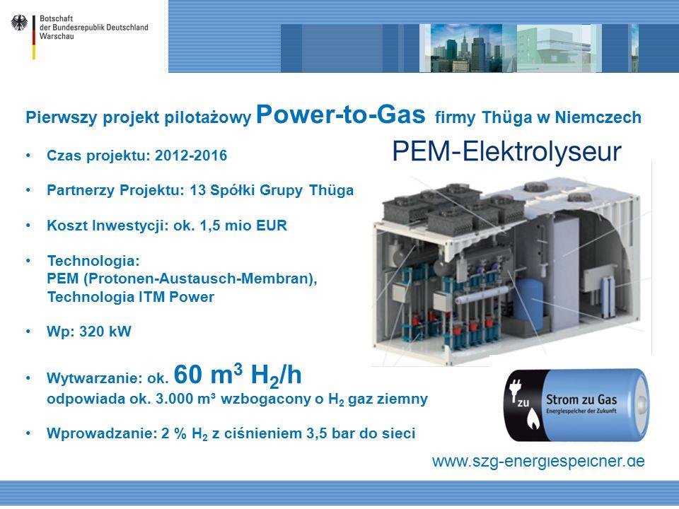 Pierwszy projekt pilotażowy Power-to-Gas firmy Thüga w Niemczech Czas projektu: 2012-2016 Partnerzy Projektu: 13 Spółki Grupy Thüga Koszt Inwestycji: ok.