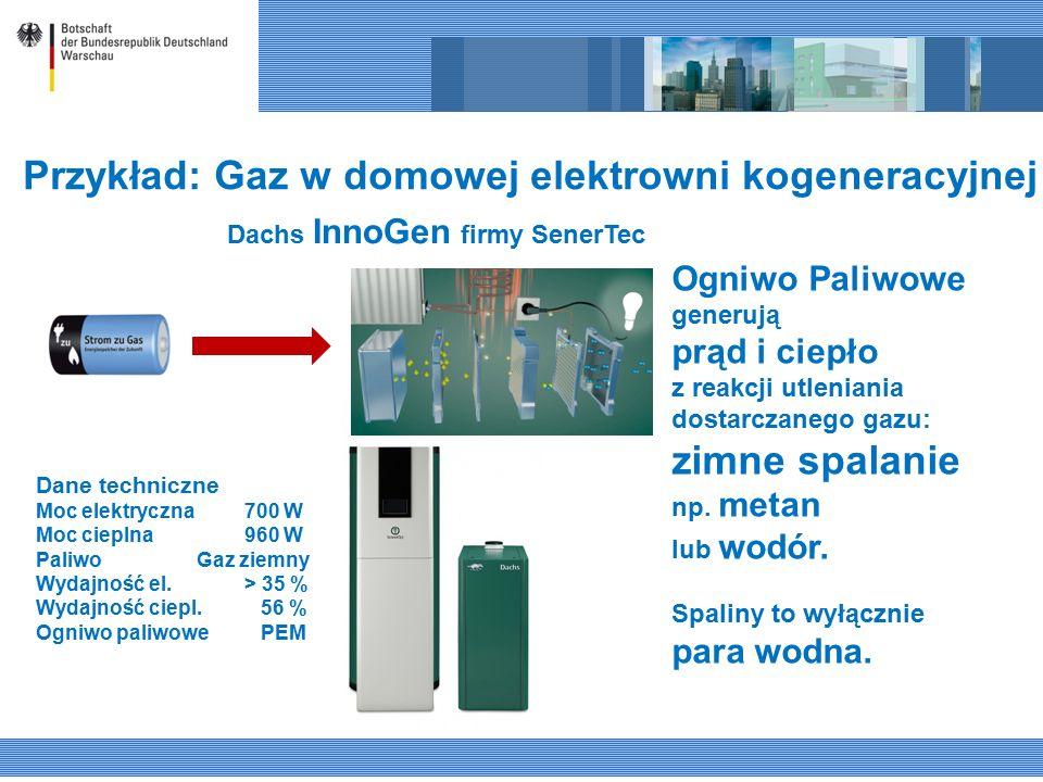 Przykład: Gaz w domowej elektrowni kogeneracyjnej Dachs InnoGen firmy SenerTec Ogniwo Paliwowe generują prąd i ciepło z reakcji utleniania dostarczanego gazu: zimne spalanie np.