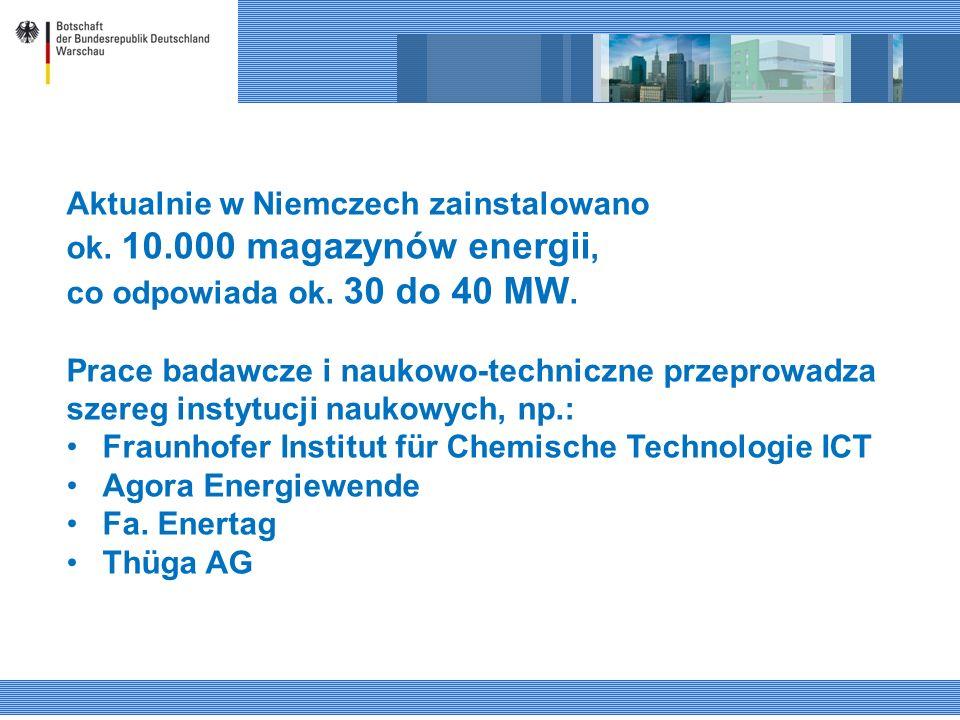 Aktualnie w Niemczech zainstalowano ok. 10.000 magazynów energii, co odpowiada ok. 30 do 40 MW. Prace badawcze i naukowo-techniczne przeprowadza szere