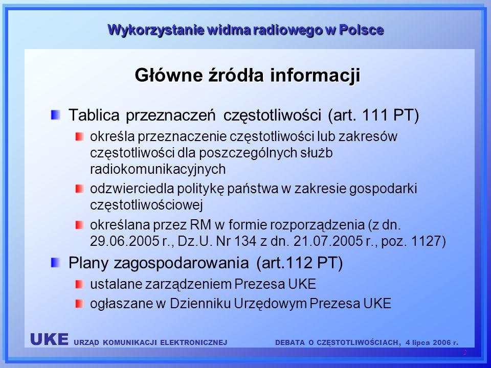 UKE URZĄD KOMUNIKACJI ELEKTRONICZNEJDEBATA O CZĘSTOTLIWOŚCIACH, 4 lipca 2006 r. 2 Wykorzystanie widma radiowego w Polsce Główne źródła informacji Tabl