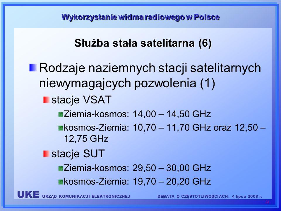 UKE URZĄD KOMUNIKACJI ELEKTRONICZNEJDEBATA O CZĘSTOTLIWOŚCIACH, 4 lipca 2006 r. 26 Wykorzystanie widma radiowego w Polsce Służba stała satelitarna (6)