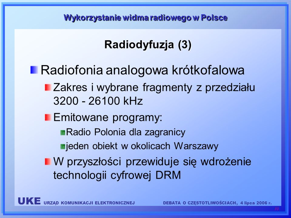 UKE URZĄD KOMUNIKACJI ELEKTRONICZNEJDEBATA O CZĘSTOTLIWOŚCIACH, 4 lipca 2006 r. 30 Wykorzystanie widma radiowego w Polsce Radiodyfuzja (3) Radiofonia