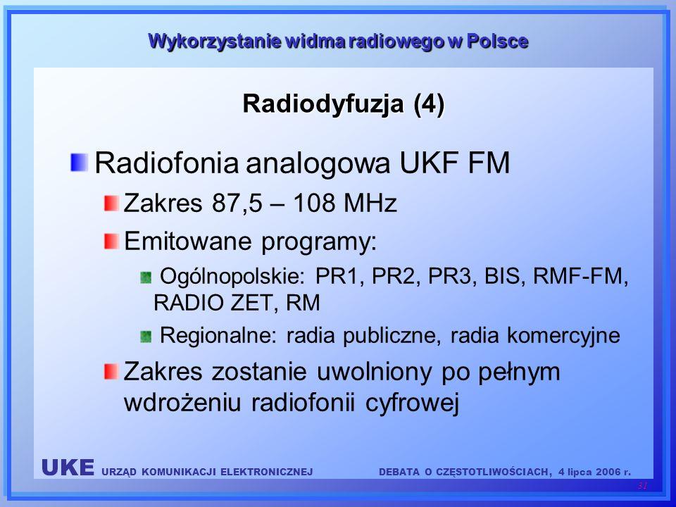 UKE URZĄD KOMUNIKACJI ELEKTRONICZNEJDEBATA O CZĘSTOTLIWOŚCIACH, 4 lipca 2006 r. 31 Wykorzystanie widma radiowego w Polsce Radiodyfuzja (4) Radiofonia
