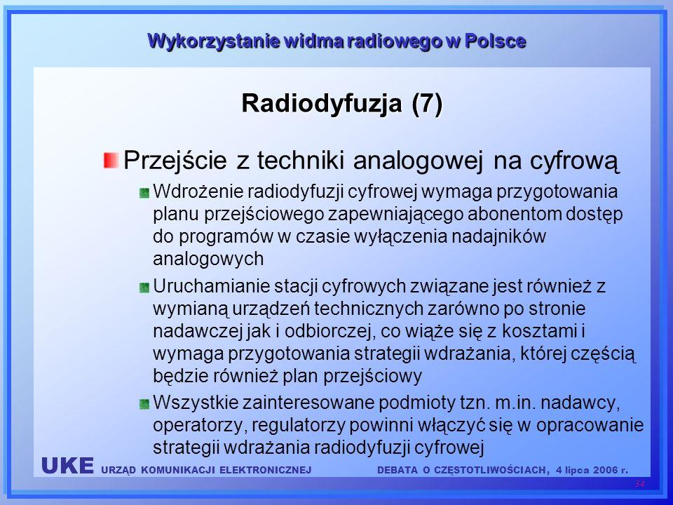 UKE URZĄD KOMUNIKACJI ELEKTRONICZNEJDEBATA O CZĘSTOTLIWOŚCIACH, 4 lipca 2006 r. 34 Wykorzystanie widma radiowego w Polsce Radiodyfuzja (7) Przejście z