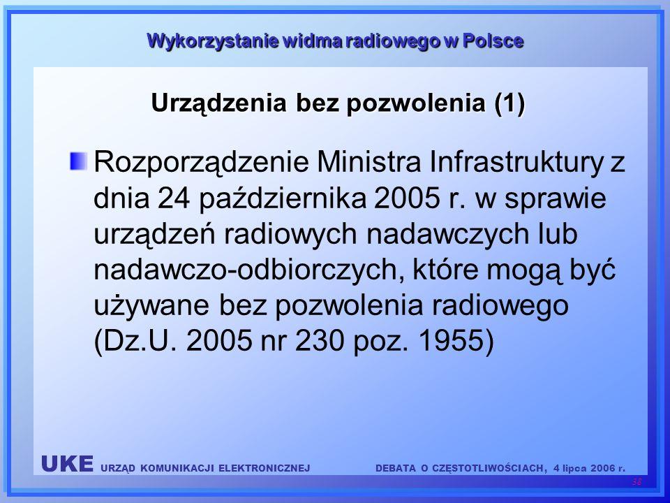 UKE URZĄD KOMUNIKACJI ELEKTRONICZNEJDEBATA O CZĘSTOTLIWOŚCIACH, 4 lipca 2006 r. 38 Wykorzystanie widma radiowego w Polsce Rozporządzenie Ministra Infr