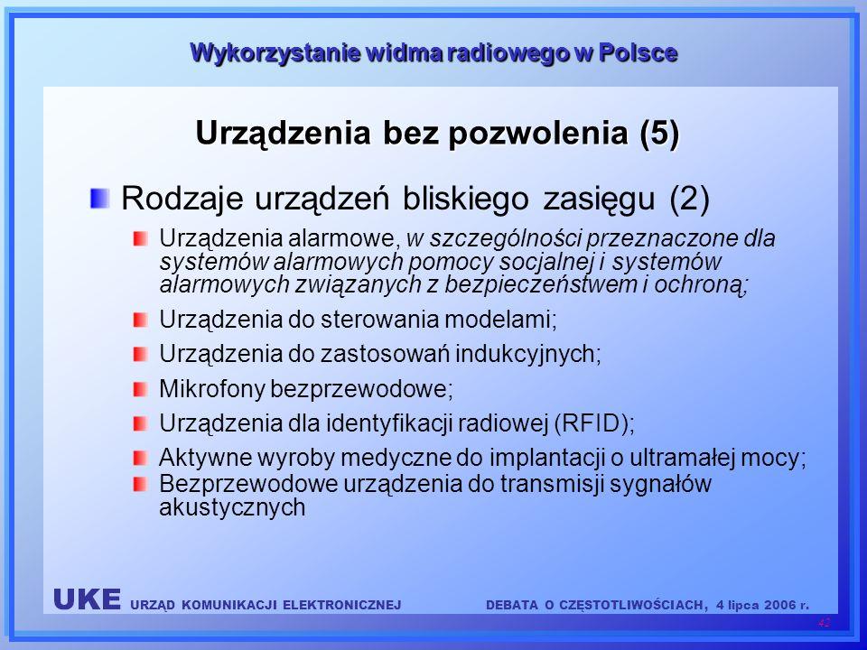 UKE URZĄD KOMUNIKACJI ELEKTRONICZNEJDEBATA O CZĘSTOTLIWOŚCIACH, 4 lipca 2006 r. 42 Wykorzystanie widma radiowego w Polsce Urządzenia bez pozwolenia (5