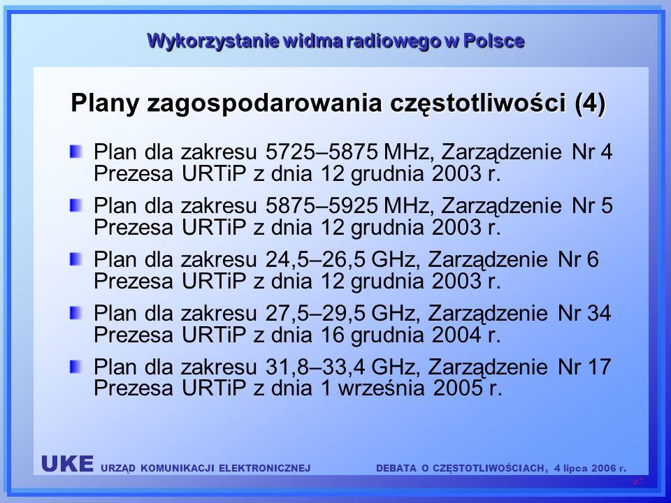 UKE URZĄD KOMUNIKACJI ELEKTRONICZNEJDEBATA O CZĘSTOTLIWOŚCIACH, 4 lipca 2006 r. 47 Wykorzystanie widma radiowego w Polsce Plany zagospodarowania częst