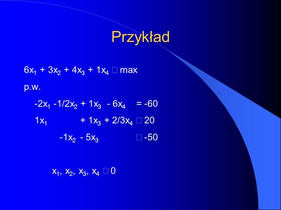 Przykład 6x 1 + 3x 2 + 4x 3 + 1x 4  max p.w.