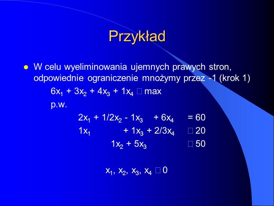 Przykład l W celu wyeliminowania ujemnych prawych stron, odpowiednie ograniczenie mnożymy przez -1 (krok 1) 6x 1 + 3x 2 + 4x 3 + 1x 4  max p.w.