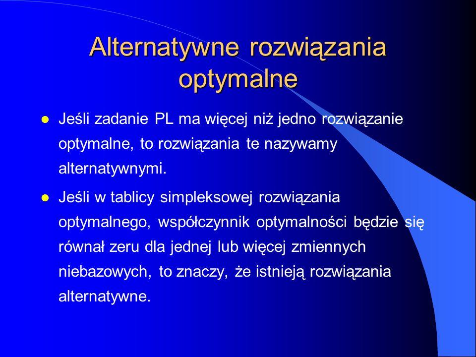 Alternatywne rozwiązania optymalne l Jeśli zadanie PL ma więcej niż jedno rozwiązanie optymalne, to rozwiązania te nazywamy alternatywnymi.