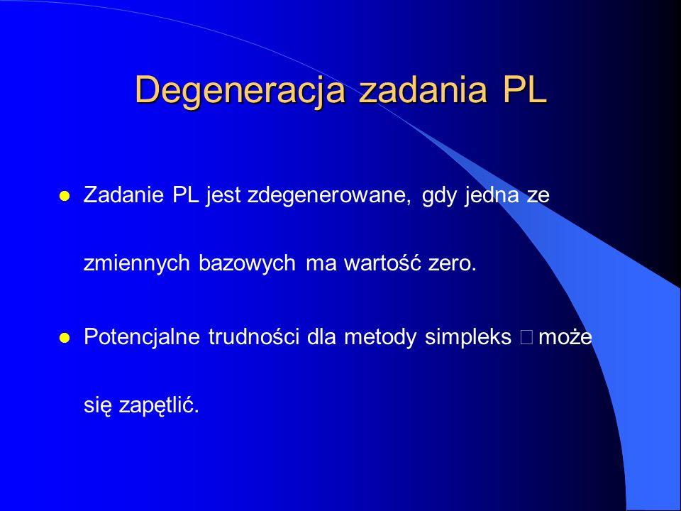 Degeneracja zadania PL l Zadanie PL jest zdegenerowane, gdy jedna ze zmiennych bazowych ma wartość zero.