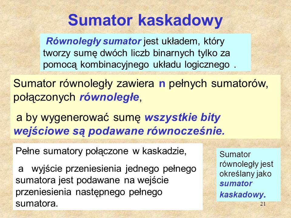 21 Sumator kaskadowy Równoległy sumator jest układem, który tworzy sumę dwóch liczb binarnych tylko za pomocą kombinacyjnego układu logicznego. Sumato