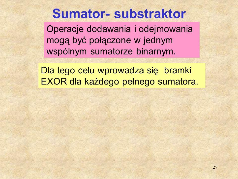 27 Sumator- substraktor Operacje dodawania i odejmowania mogą być połączone w jednym wspólnym sumatorze binarnym. Dla tego celu wprowadza się bramki E