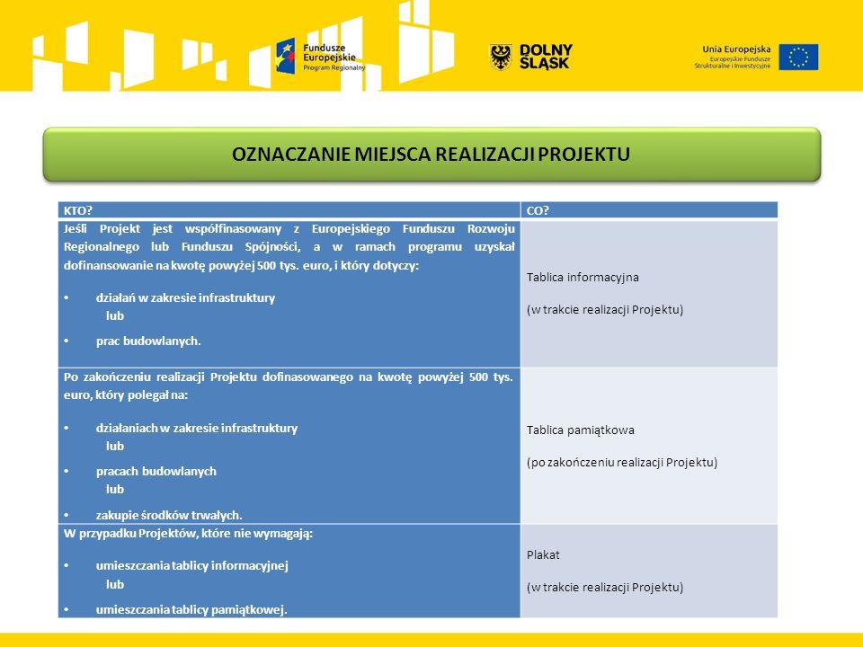 OZNACZANIE MIEJSCA REALIZACJI PROJEKTU KTO?CO? Jeśli Projekt jest współfinasowany z Europejskiego Funduszu Rozwoju Regionalnego lub Funduszu Spójności