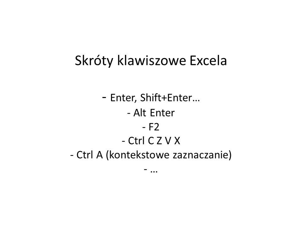Skróty klawiszowe Excela - Enter, Shift+Enter… - Alt Enter - F2 - Ctrl C Z V X - Ctrl A (kontekstowe zaznaczanie) - …