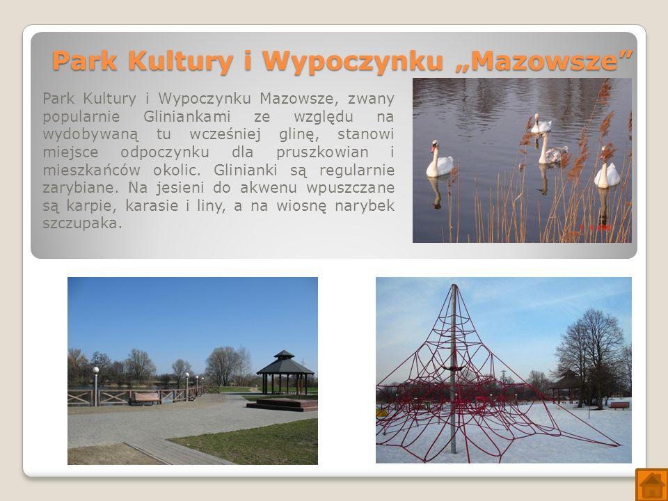 """Park Kultury i Wypoczynku """"Mazowsze Park Kultury i Wypoczynku Mazowsze, zwany popularnie Gliniankami ze względu na wydobywaną tu wcześniej glinę, stanowi miejsce odpoczynku dla pruszkowian i mieszkańców okolic."""