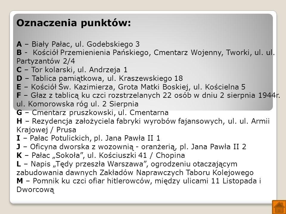 Oznaczenia punktów: A – Biały Pałac, ul.