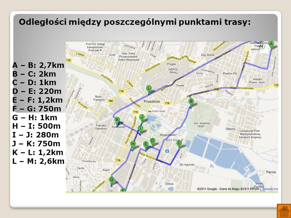 Odległości między poszczególnymi punktami trasy: A – B: 2,7km B – C: 2km C – D: 1km D – E: 220m E – F: 1,2km F – G: 750m G – H: 1km H – I: 500m I – J: 280m J – K: 750m K – L: 1,2km L – M: 2,6km